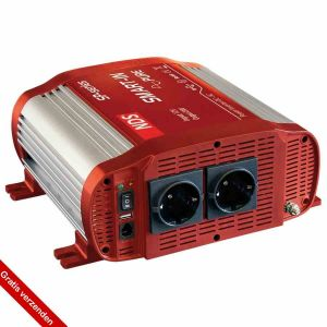 NDS SP1000-12 Omvormer 12VDC>230VAC+5VUSB,1000W Pure Sinus